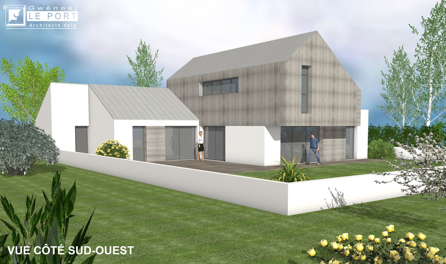 Architecte maison contemporaine en zinc abscisse for Maison moderne zinc