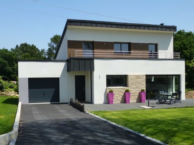 Architecte de maisons toitures zinc vannes morbihan for Maison monopente contemporaine